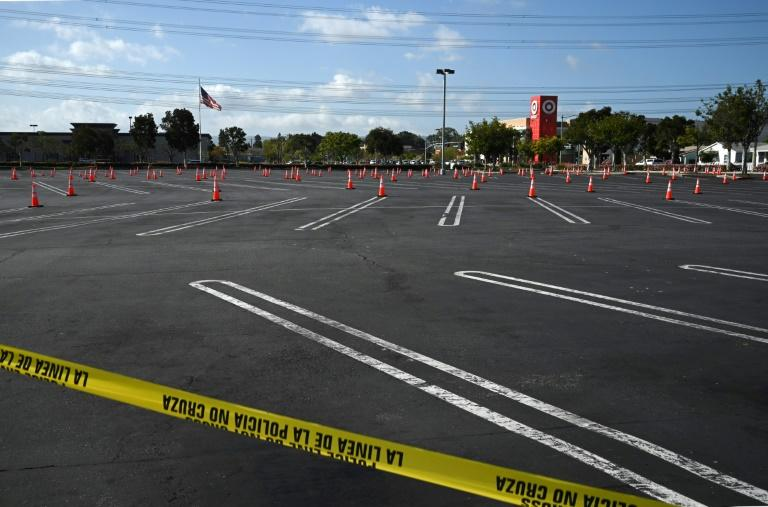 An empty shopping mall parking lot in California that is being prepared as a coronavirus testing site (AFP Photo/Robyn Beck)
