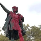 The Latest: Columbus statue defaced in Southern California