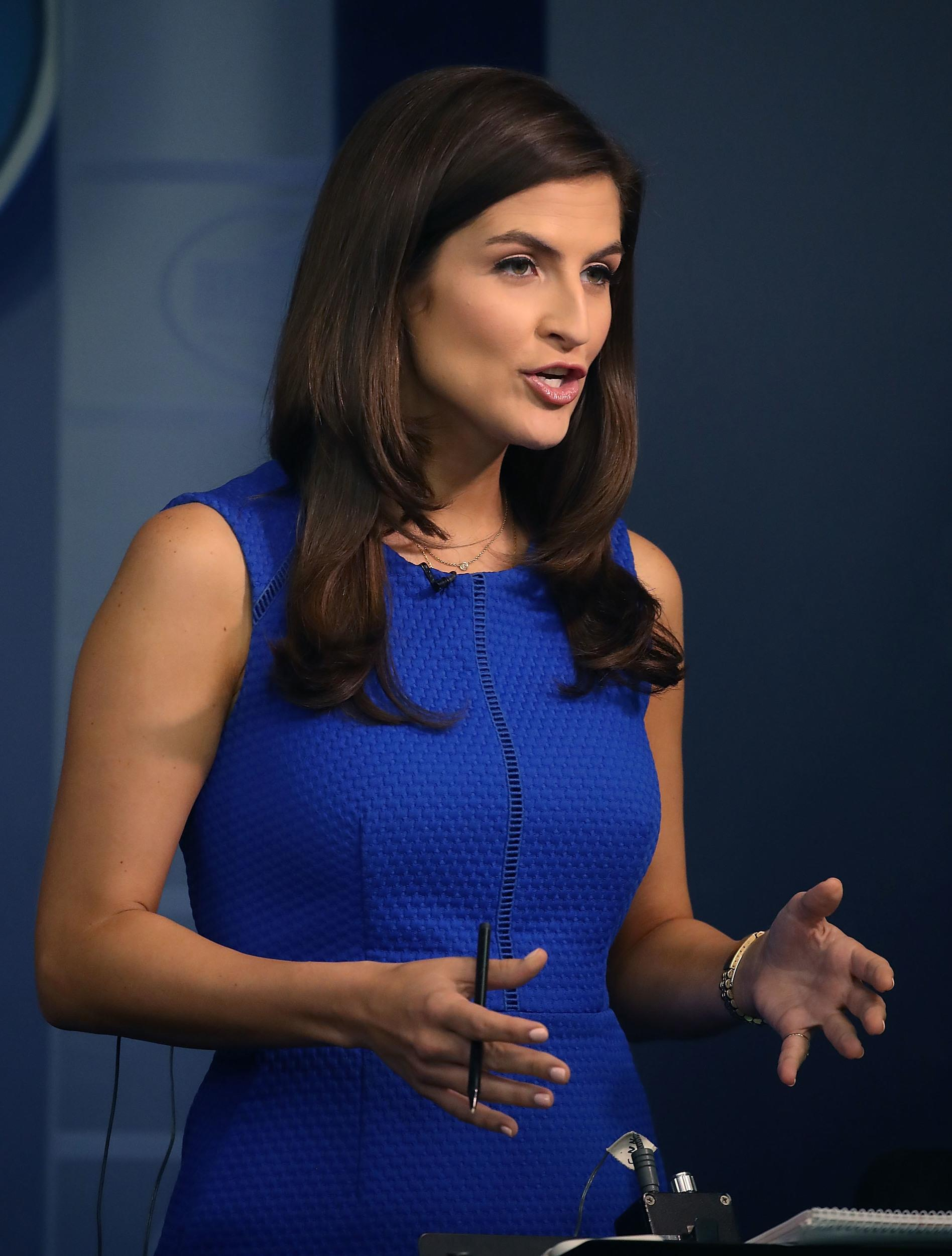 WASHINGTON, DC - AUGUST 02:  CNN News correspondent, Kaitlan Collins, reports from the briefing room at the White House, on August 2, 2018 in Washington, DC. The administration's top security officials briefed the media on election interference. (Photo by Mark Wilson/Getty Images)