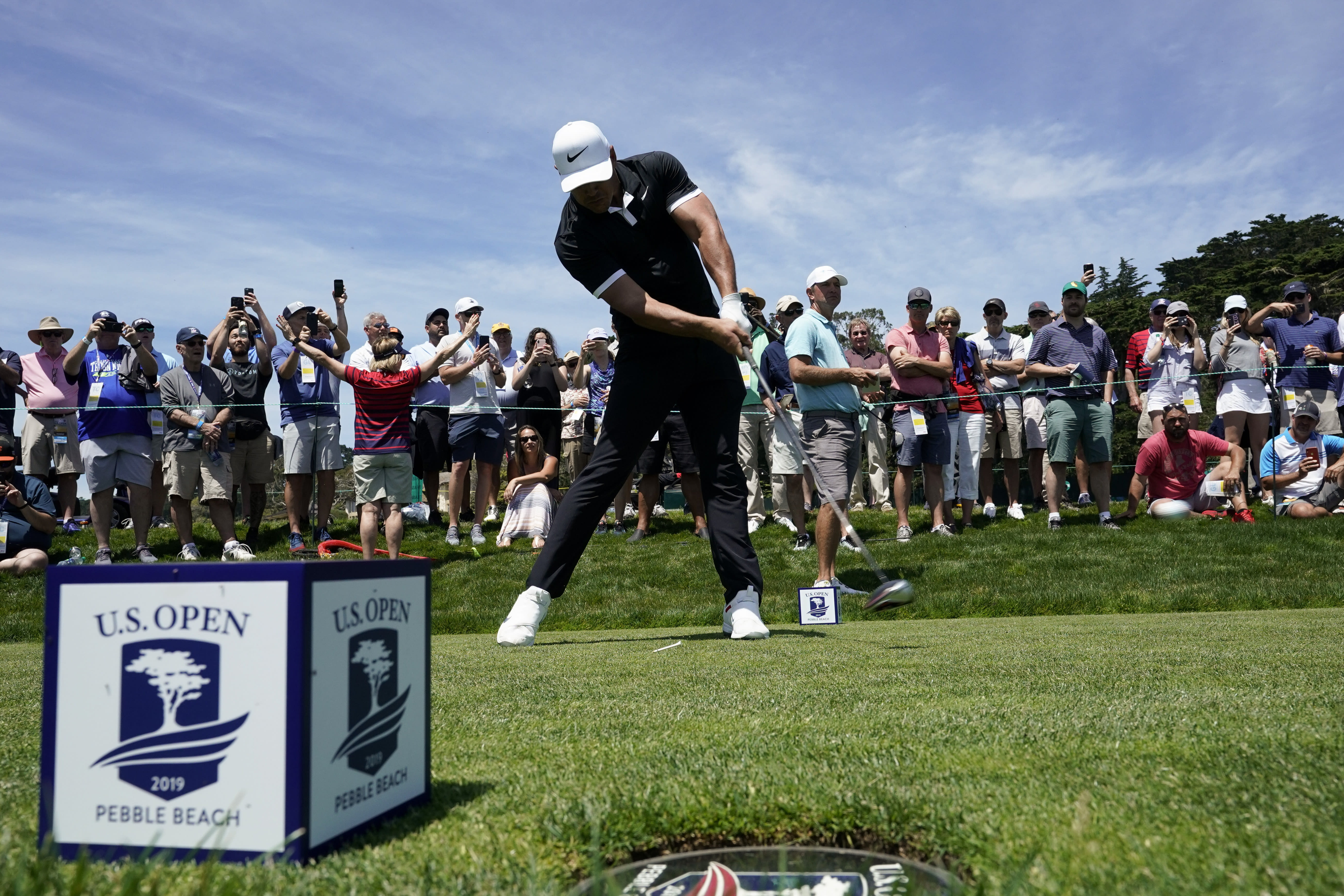Brooks Koepka hits his tee shot on the ninth hole during a practice round for the U.S. Open Championship golf tournament Monday, June 10, 2019, in Pebble Beach, Calif. (AP)