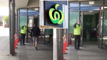 Charming video shows 'happiest man in Melbourne' greeting Woolworths shoppers