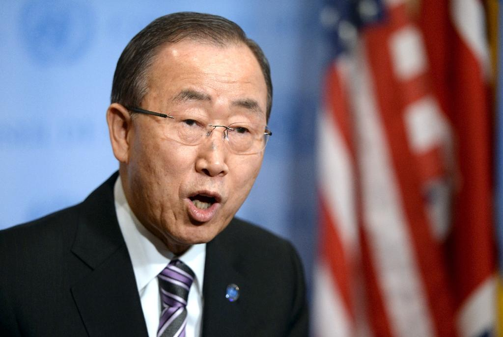 UN Secretary-General Ban Ki- moon speaks to the press on January 6, 2016 (AFP Photo/Timothy A. Clary)