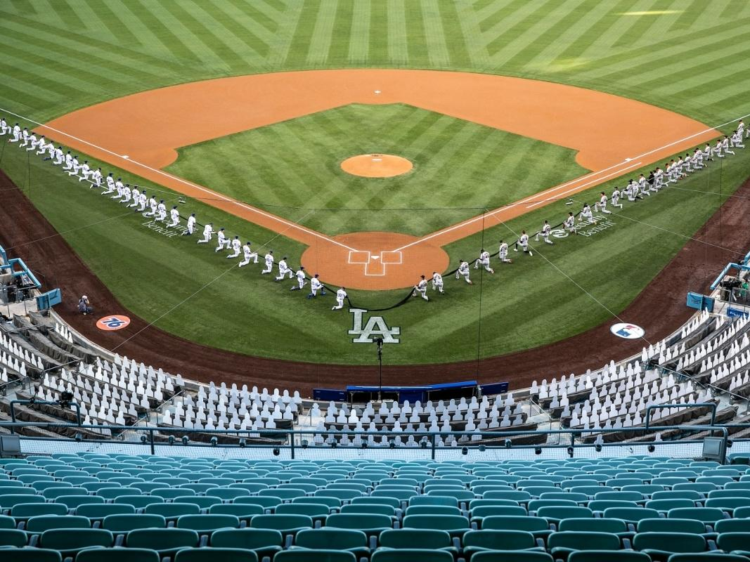 The LA Dodgers and the San Francisco Giants at Dodger Stadium on Opening Day, July 23, 2020.