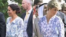 Meghan Markle Twinned with Princess Diana in Blue