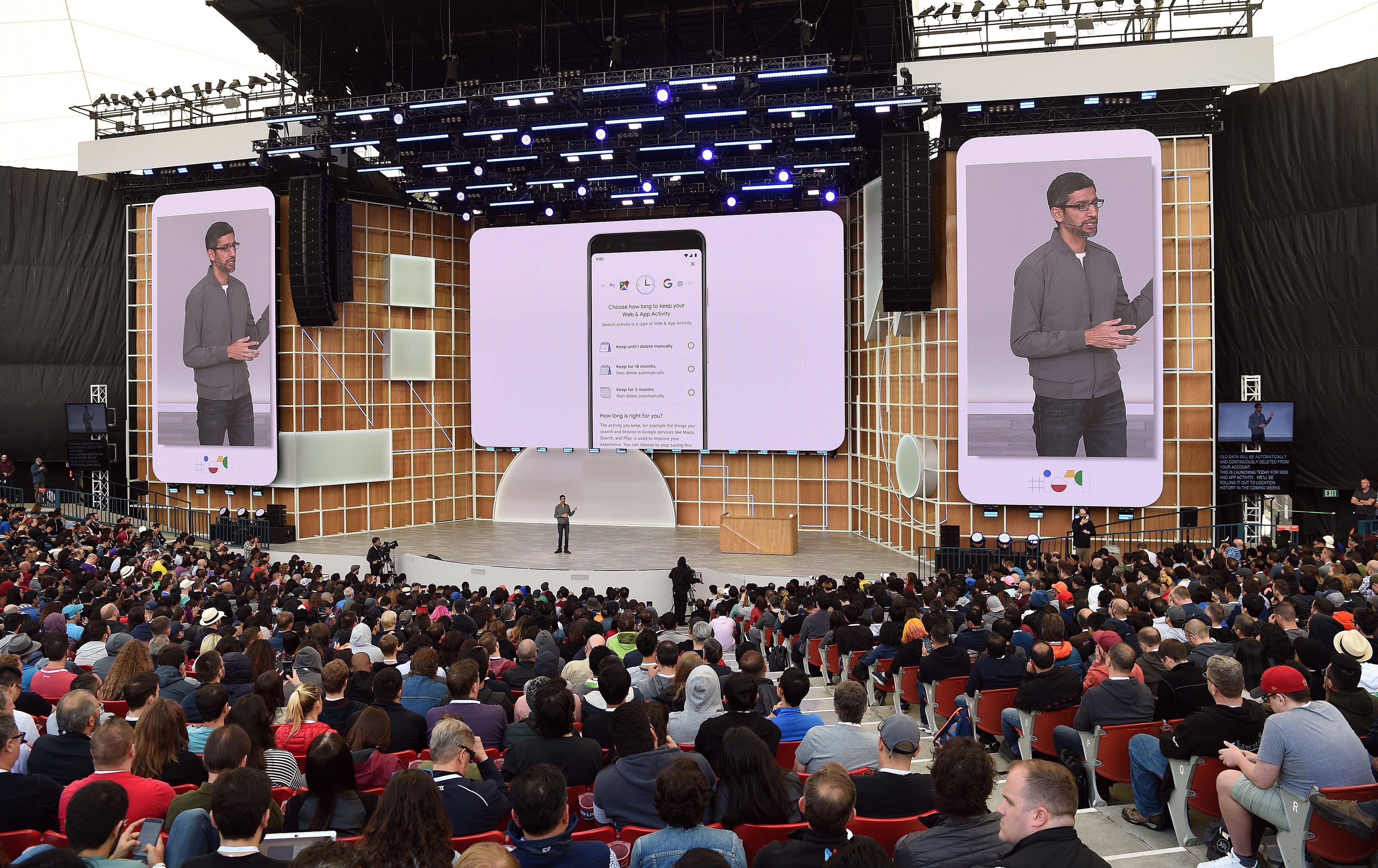 Google CEO Sundar Pichai speaks during the Google I/O 2019 keynote session at Shoreline Amphitheatre in Mountain View, California on May 7, 2019. (Photo by Josh Edelson / AFP)        (Photo credit should read JOSH EDELSON/AFP via Getty Images)