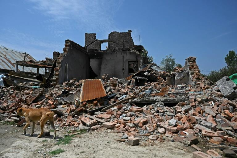 The remains of houses blasted by mortars fired by Indian soldiers during a firefight with rebels in Sopore, in Jammu and Kashmir