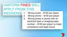 Junior footy players fined for incorrect uniform