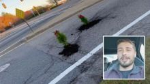 Man's hilarious - and festive - solution to potholes
