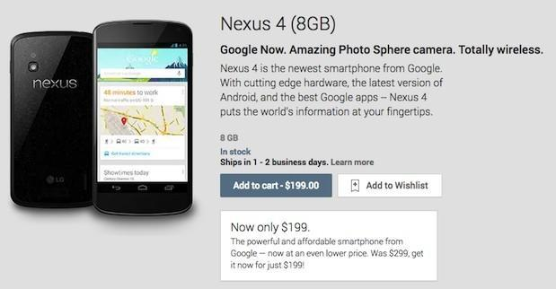 Nexus 4 price drops by $100 to $199 for 8GB, $249 for 16GB (update)