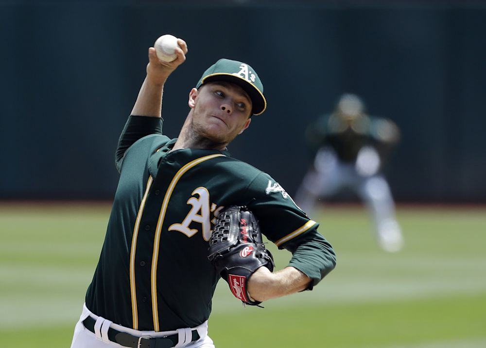 Oakland Athletics pitcher Sonny Gray works against the Cleveland Indians during the first inning of a baseball game Friday, July 14, 2017, in Oakland, Calif
