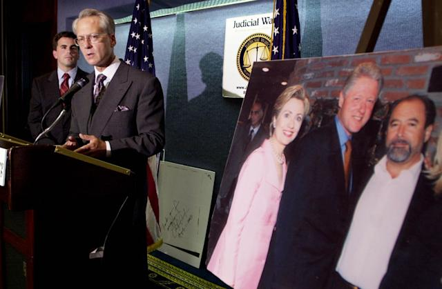 Larry Klayman, General Council for Judicial Watch, right, speaks at a press conference as Tom Fitton, President of Judicial Watch, looks on August 10, 2001 at the National Press Club in Washington, DC. Judicial Watch is filing suit against Sen. Hillary Rodham Clinton and former President Bill Clinton for submitting false reports of federal election campaign contributions. (Photo: Shawn Thew/Getty Images)