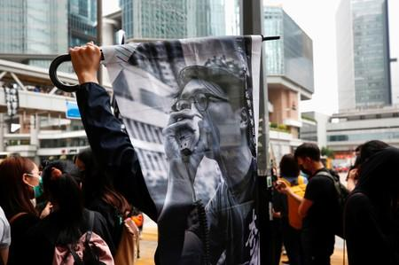 Supporters of jailed activist Edward Leung, gather outside the High Court as Leung appeals against his conviction and sentence, in Hong Kong