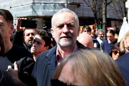 The leader of Britain's opposition Labour party Jeremy Corbyn arrives for a May Day rally in London, Britain May 1, 2016. REUTERS/Hannah Mckay