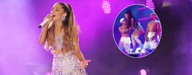 WATCH: Ariana Grande almost STACKS it on stage