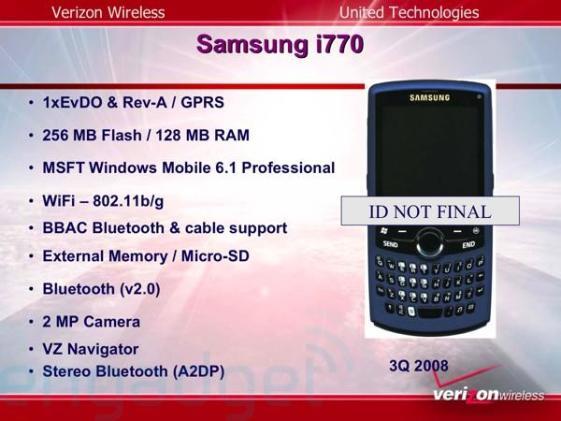 Verizon slide deck reveals Verizon i770, Palm 800w, fun facts