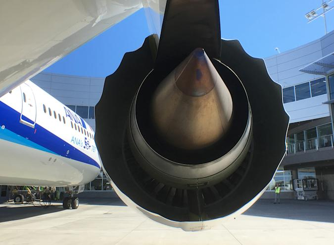 A Rolls-Royce engine is seen on a Boeing 787-9 Dreamliner owned by ANA Holdings Inc. in Everett, Washington, U.S. August 17, 2016. REUTERS/Alwyn Scott/File Photo