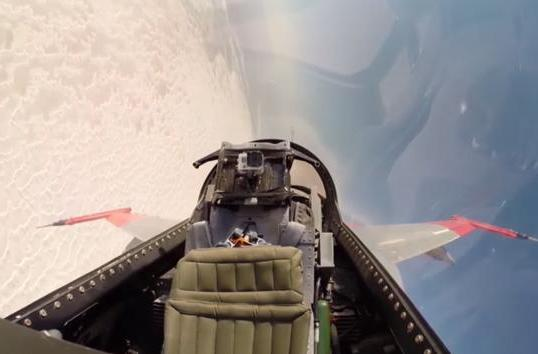 Watch a remote-controlled fighter jet evade a missile