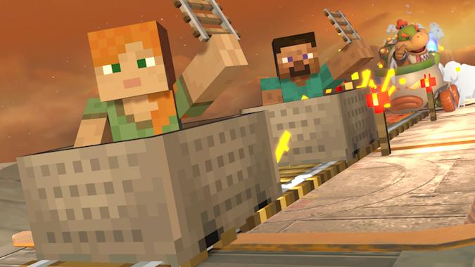 Alex and Steve from 'Minecraft' in 'Super Smash Bros. Ultimate'