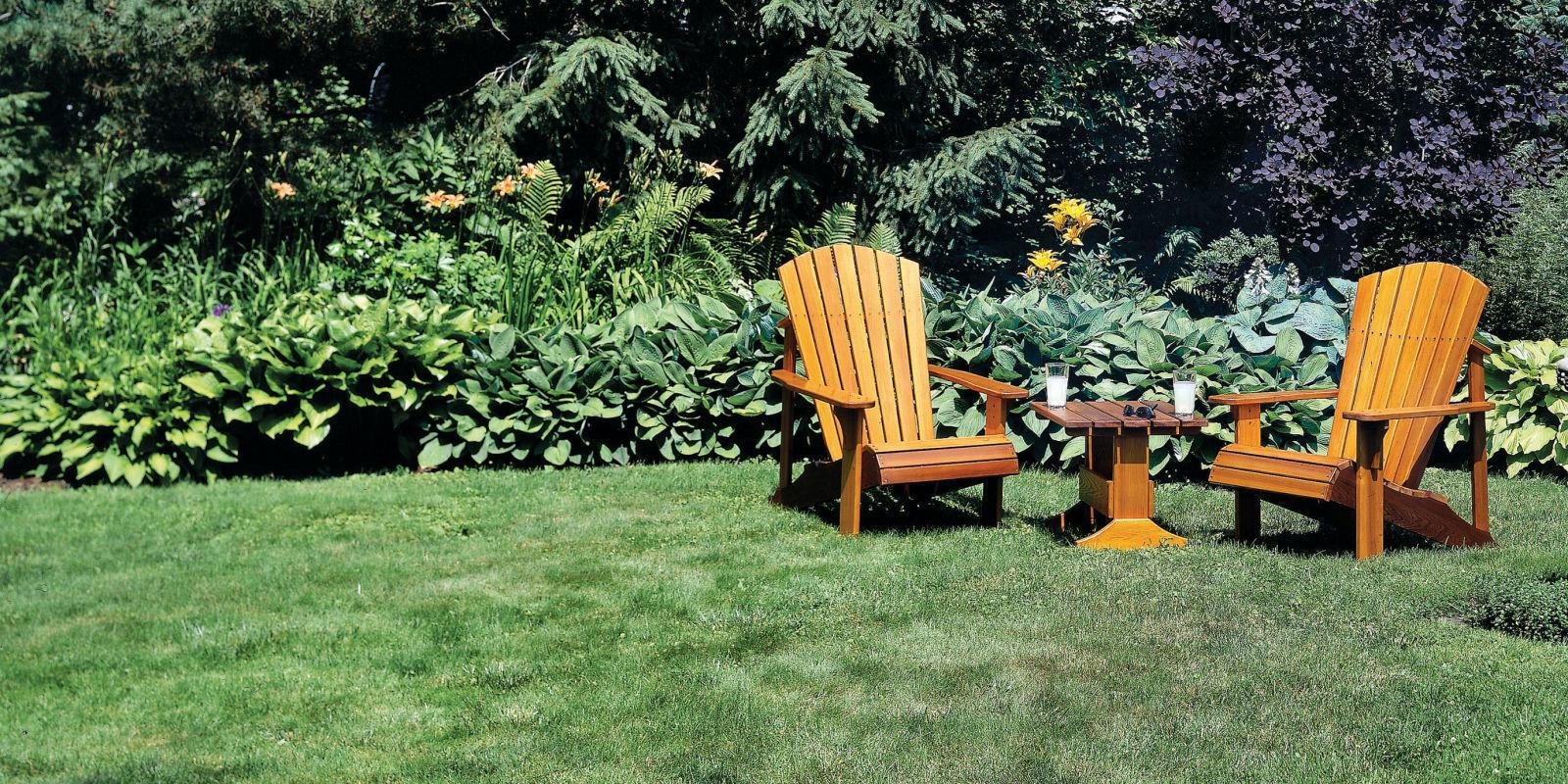 """<p>Nothing says summer like sitting in an adirondack chair on a lush green lawn, sipping away at your icy cold beverage of choice. It's even more satisfying if you built the furniture yourself. So dump your cheap chaise lounges and make your own set of these iconic chairs.</p><p><a href=""""http://www.popularmechanics.com/home/how-to-plans/how-to/a709/easy-adirondack-chair-plans/"""" rel=""""nofollow noopener"""" target=""""_blank"""" data-ylk=""""slk:How to Build an Adirondack Chair Set and Table"""" class=""""link rapid-noclick-resp"""">How to Build an Adirondack Chair Set and Table</a></p>"""