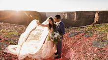Couple gets married at 400 feet and their wedding photos might turn your tum