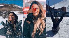 Lexa curte neve, pula de paraquedas e prova ser a melhor companheira de viagem