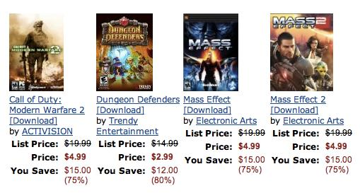 Mass Effect 1 and 2, Modern Warfare 2 for PC cheap today on Amazon