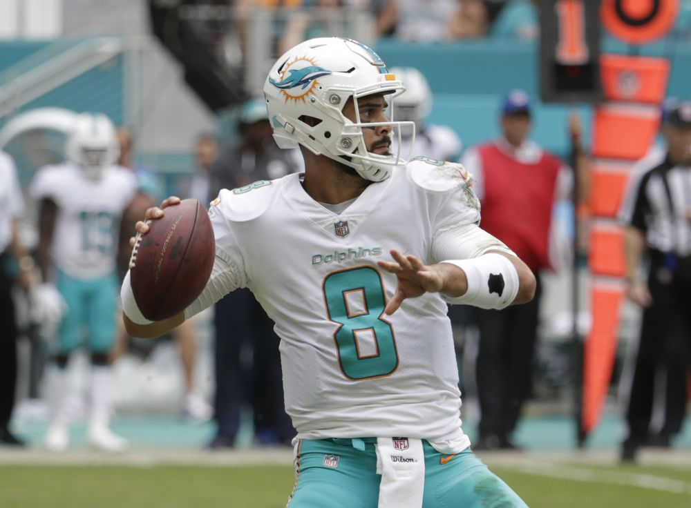 Matt Moore came in to relieve an injured Jay Cutler and the Dolphins got an important victory against AFC East rival New York. (AP)