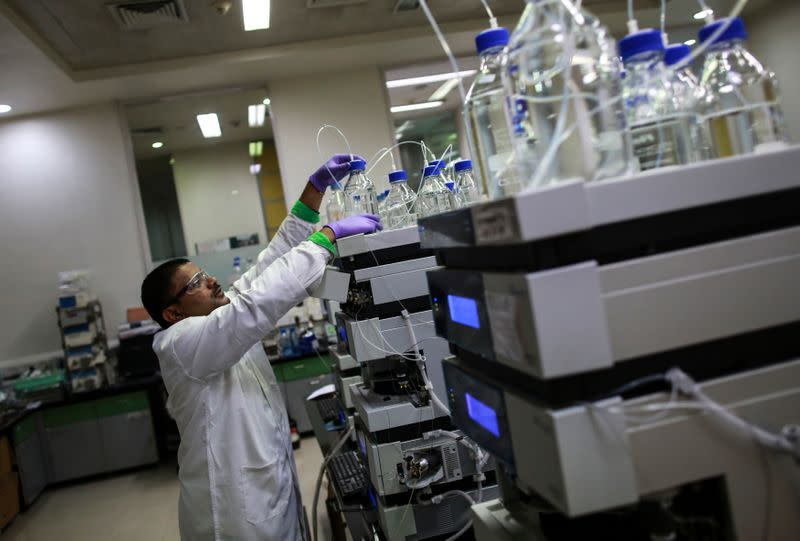 An employee works inside a laboratory at Piramal's Research Centre in Mumbai