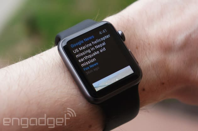 Google delivers news headlines to your Apple Watch