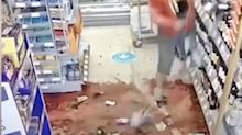 An angry woman wrecked the wine display at a supermarket after being asked to follow COVID-19 one-way system