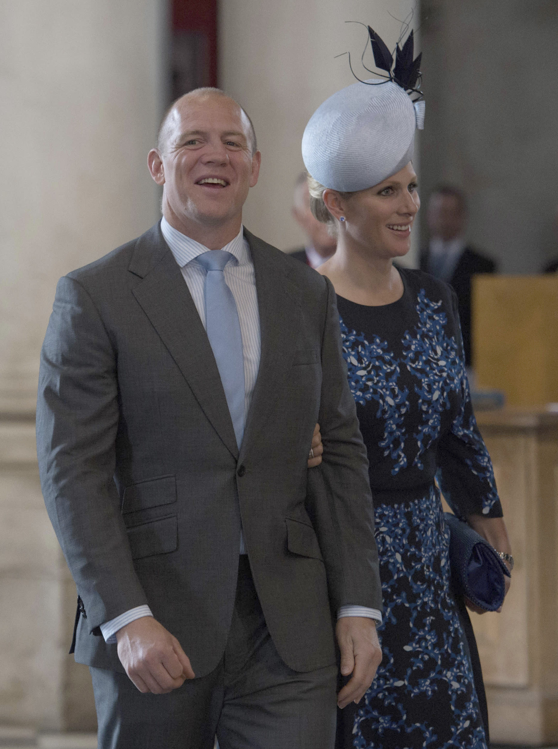 Mike and Zara Tindall arrive for a service of thanksgiving to mark the 90th birthday of Britain's Queen Elizabeth at St Paul's Cathedral in London, Britain, June 10, 2016. REUTERS/Stefan Rousseau/Pool