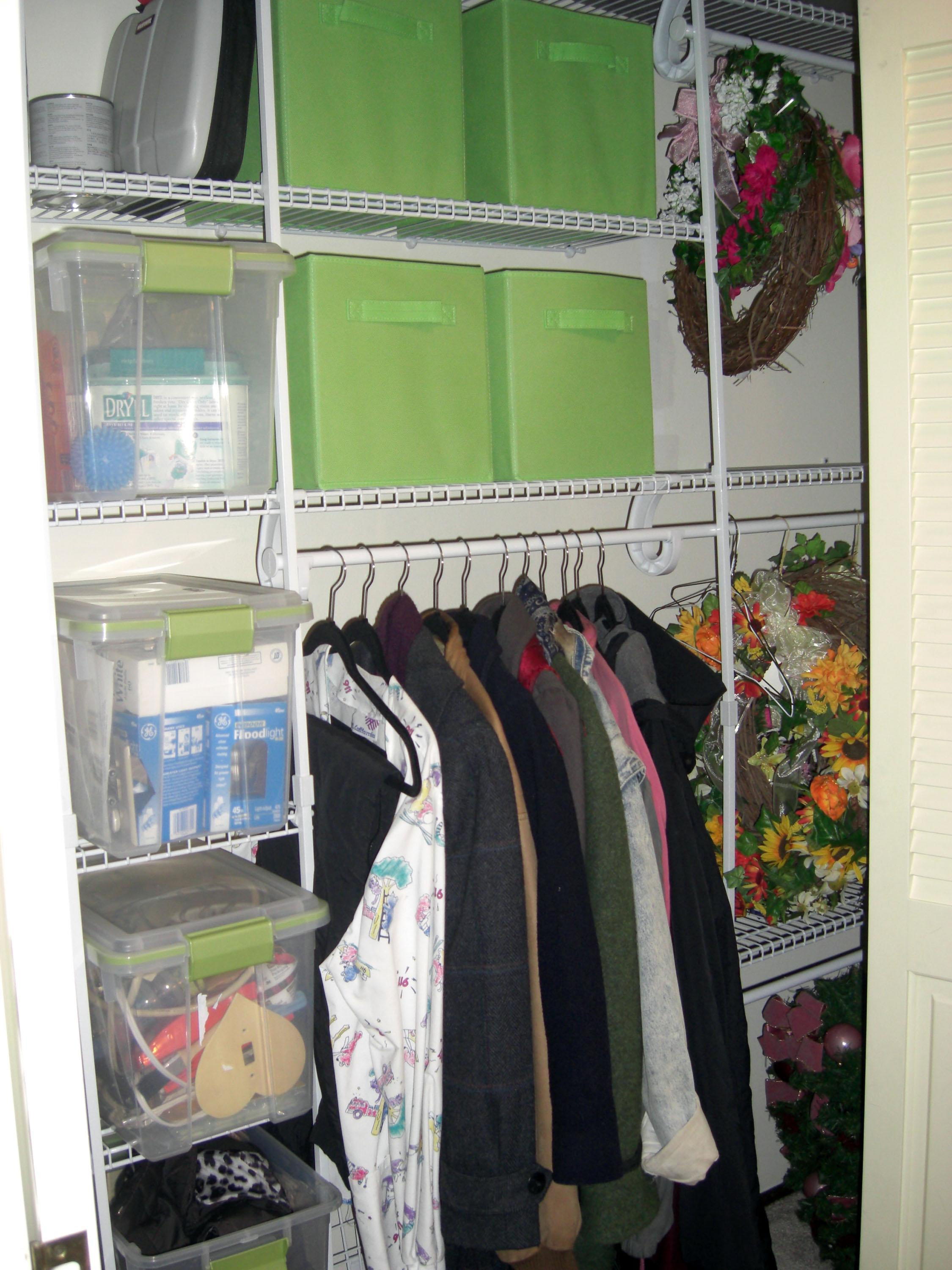 In this undated image released by Seriously Organized, a redesigned closet utilizing new shelving and storage bins is shown after an organization project. Nikki Havens of Seriously Organized in Bloomington, Minn., recommends starting with your entry hall closet. Small closet or walk-in, it's important to use the most convenient spot in your home to your advantage. (AP Photo/Seriously Organized)