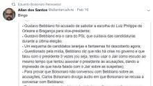 Aliados de Eduardo acusam Bebianno de conspirador, diz colunista