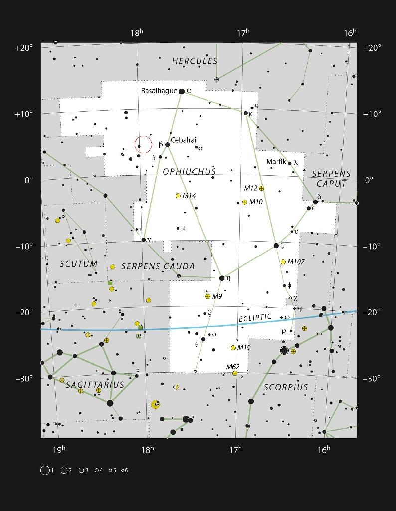 A handout from the European Southern Observatory shows the location (circled in red) of Barnard's Star (AFP Photo/Handout)