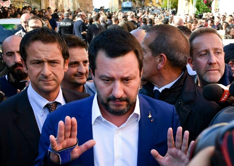 Salvini joined what was then the Northern League in 1990, aged just 17, rising quickly through the ranks (AFP Photo/Alberto PIZZOLI)