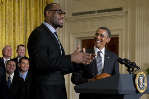 In 2013, LeBron James made his second of three NBA championship team visits to the White House during Barack Obama's administration. (AP)