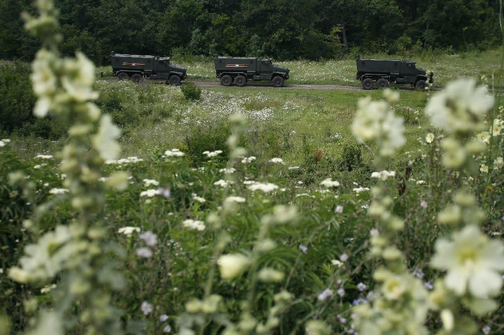 Russian Taifun, mine-resistant armoured vehicles, seen at a training ground during a military drill near the village of Molkino, Krasnodar region on July 10, 2015 (AFP Photo/Sergei Venyavsky)