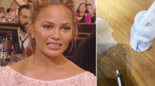 Chrissy Teigen's keeps it real while attempting to salvage spilt breast milk