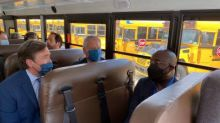 U.S. Senator Raphael Warnock Tours Blue Bird School Bus Plant, Experiences Electric School Bus