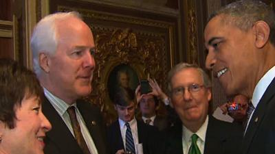 Raw: Obama Arrives for Senate Lunch
