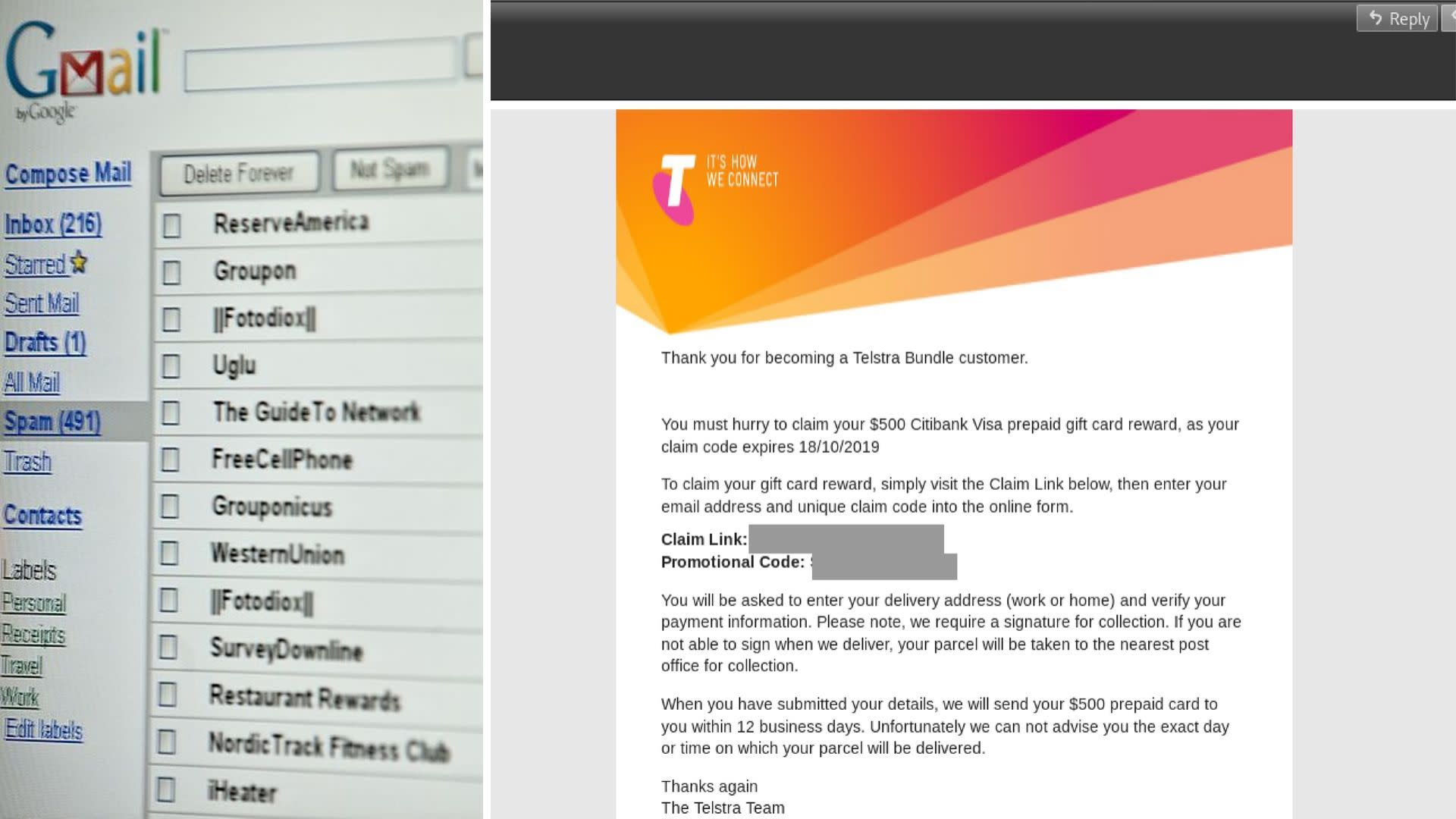 Don't click this Telstra email offering $500