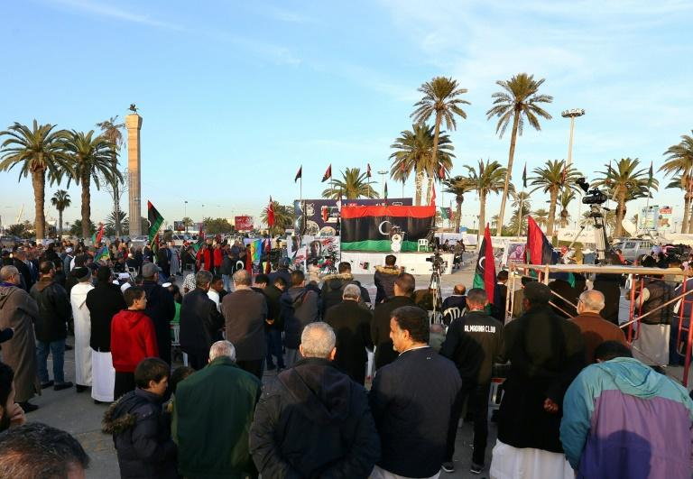 Libyans take part in a demonstration against eastern strongman Khalifa Haftar -- who is backed by France, Russia and others -- and in support of the UN-recognised Government of National Accord (GNA), at Martyrs' Square in the GNA-held capital Tripoli