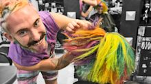 You have to see this Australian hairstylist transform hair into a rainbow unicorn horn
