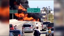 Southbound 710 Freeway Remains Shut Down In Bell After Tanker Truck Fire