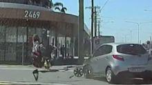 Shocking dashcam footage shows motorbike rider thrown through the air