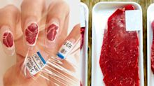 If you love steak, get into this raw nail art