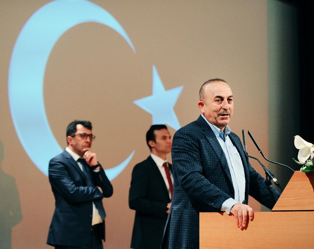 Turkish Foreign Minister Mevlut Cavusoglu gives a speech in the French city of Metz on March 12, 2017