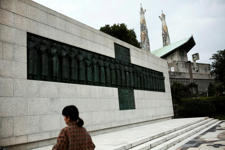 The pope will visit the Twenty-Six Martyrs Museum in Nakasaki, home to a monument to some of Japan's hidden Christians (AFP Photo/Behrouz MEHRI)