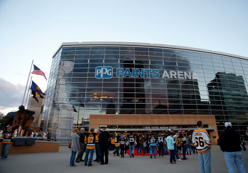 PITTSBURGH, PA - OCTOBER 13: An exterior view of PPG Paints Arena before the game between the Pittsburgh Penguins and the Washington Capitals at PPG Paints Arena on October 13, 2016 in Pittsburgh, Pennsylvania. (Photo by Justin K. Aller/Getty Images)