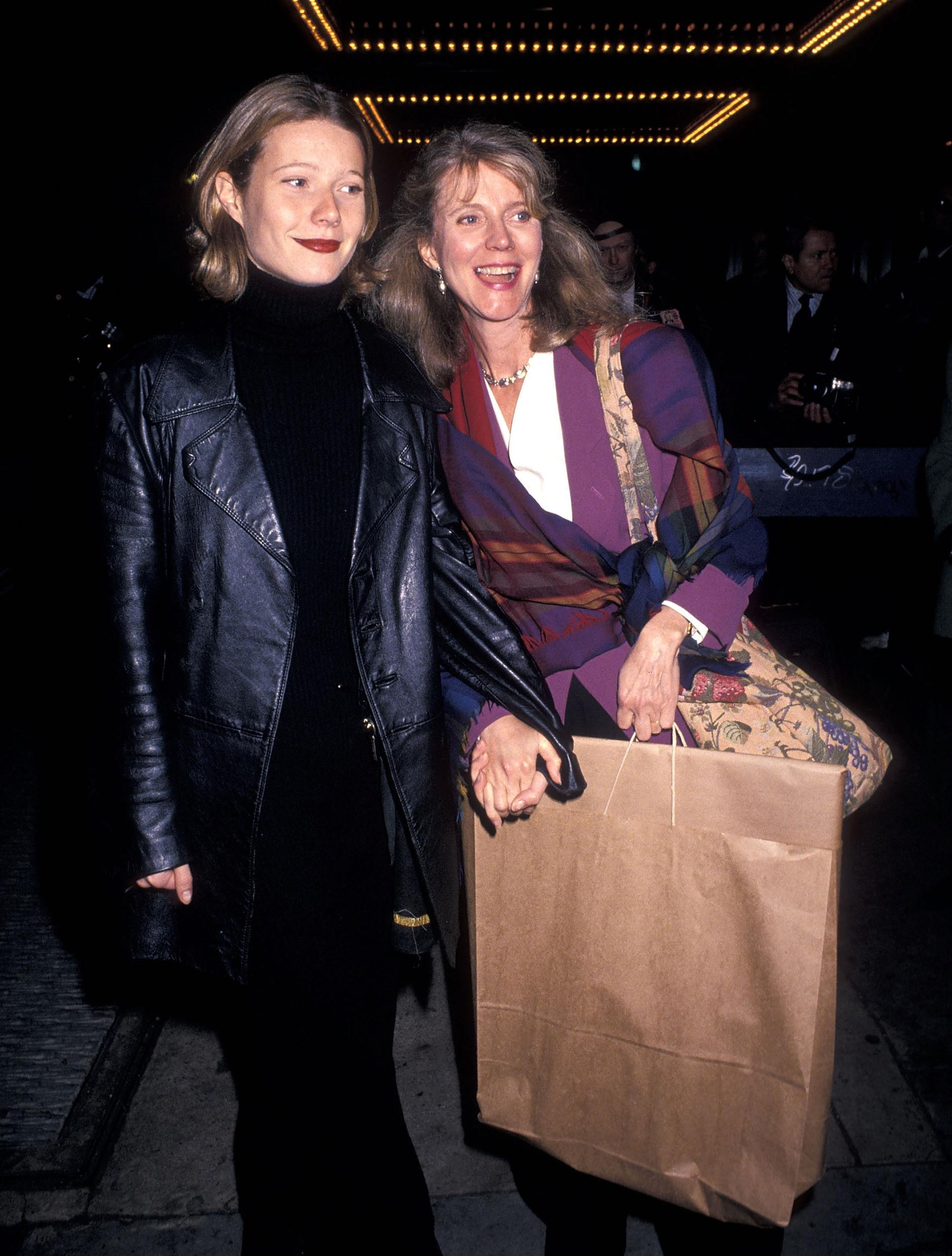 Actress Blythe Danner and daughter actress Gwyneth Paltrow attend 'The Saint of Fort Washington' New York City Premiere on November 16, 1993 at the Worldwide Plaza Cinema in New York City. (Photo by Ron Galella, Ltd./WireImage)